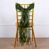 Olive Green Chiffon Curly Chair Sash