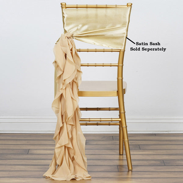 Champagne Chiffon Curly Chair Sash