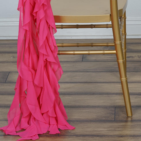 Chiffon Curly Chair Sash - Fuchsia
