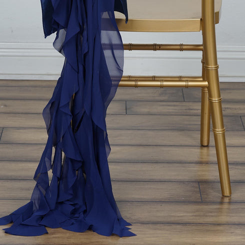 Chiffon Curly Chair Sash - Navy Blue