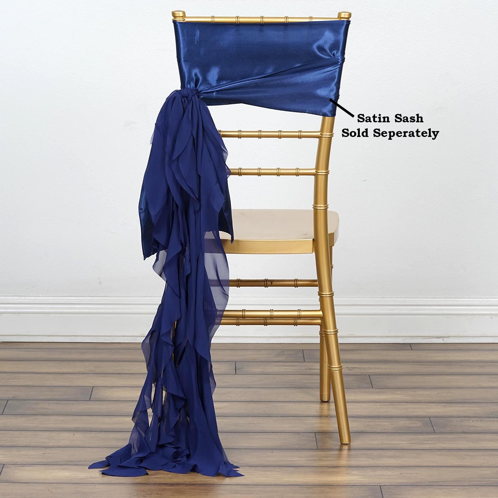 Chiffon Navy Blue Curly Chair Sashes For Catering Wedding Party