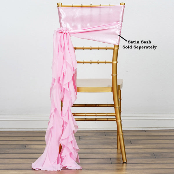 Pink Chiffon Curly Chair Sash