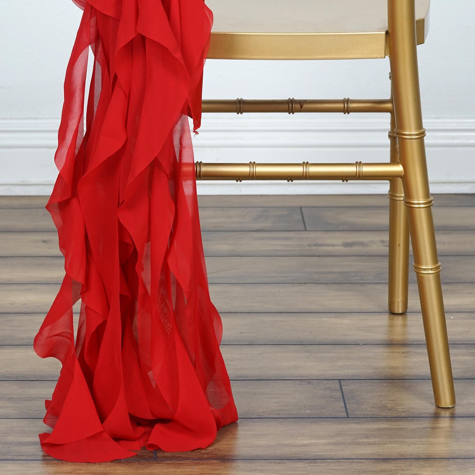 Chiffon Curly Chair Sash Red