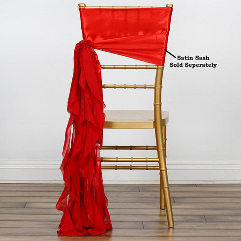 Chiffon Red Curly Chair Sashes For Catering Wedding Party Decorations