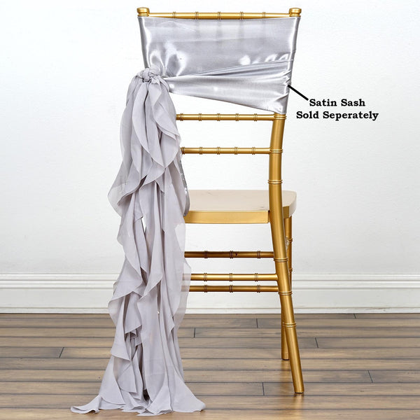Silver Chiffon Curly Chair Sash