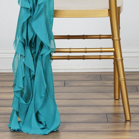 Chiffon Curly Chair Sash - Turquoise