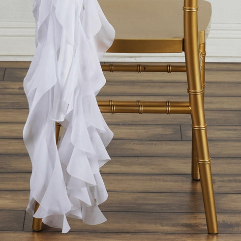 Chiffon WHITE Curly Chair Sashes For Catering Wedding Party Decorations