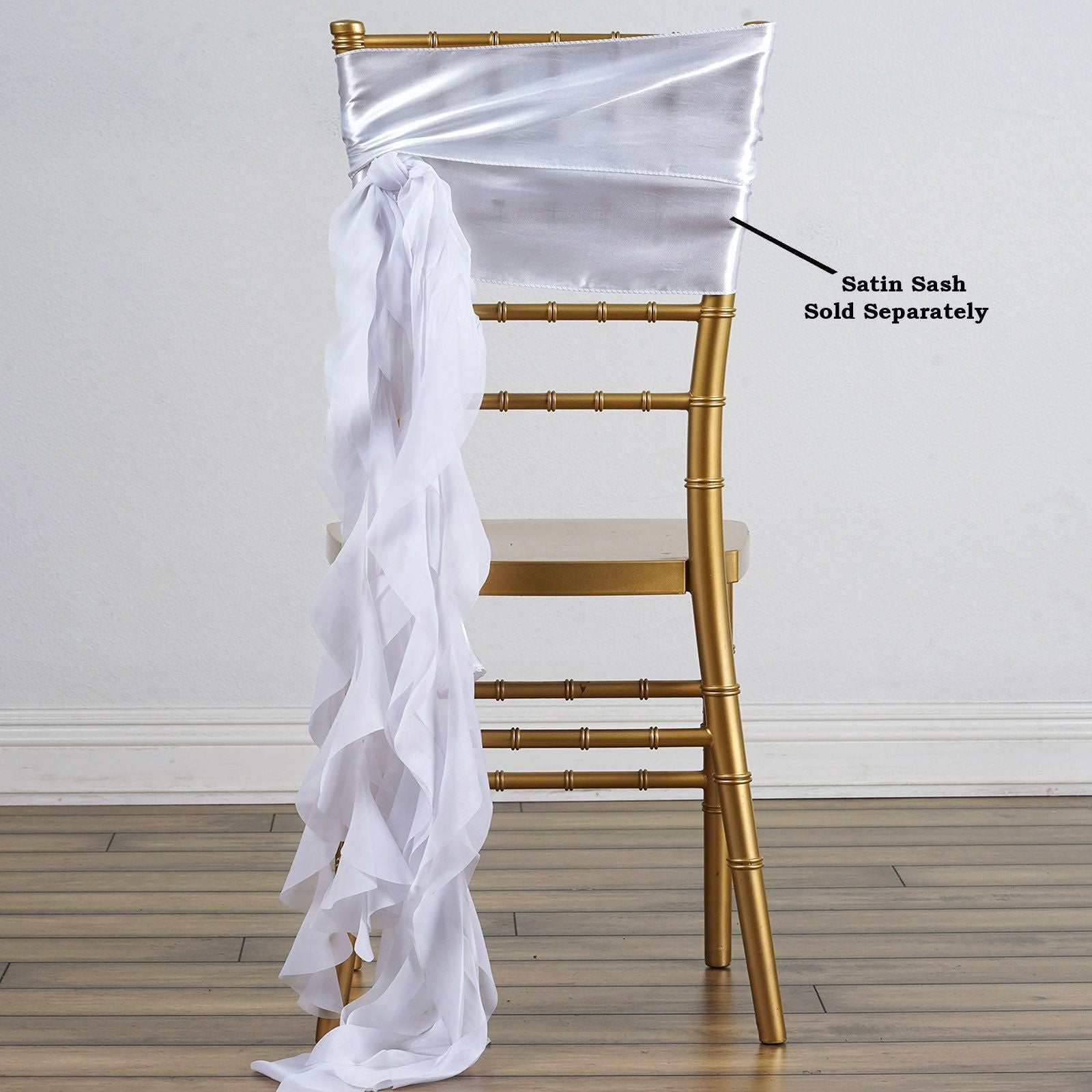 Chiffon WHITE Curly Chair Sashes For Catering Wedding Party