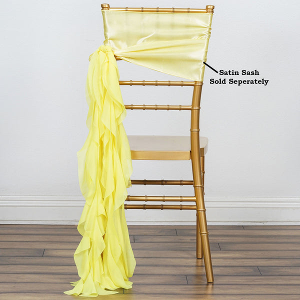 Yellow Chiffon Curly Chair Sash