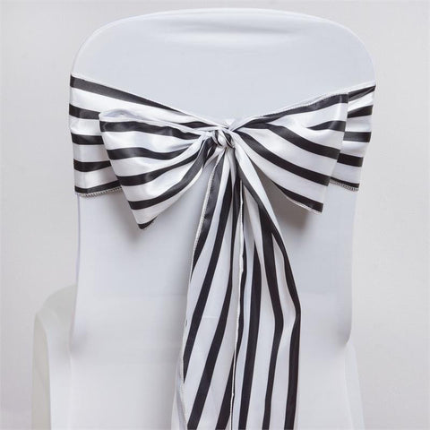5pc x Ever Lovable Satin Stripes Chair Sash - White / Black
