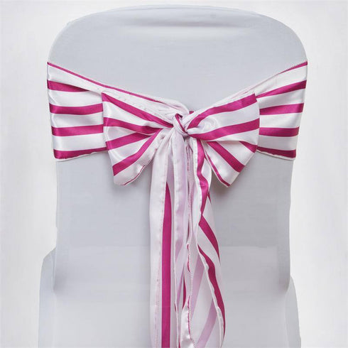 5pc x Ever Lovable Satin Stripes Chair Sash - White / Fushia