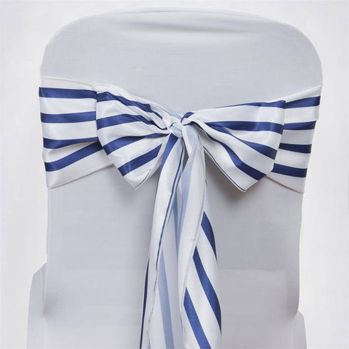 5pc x Ever Lovable Satin Stripes Chair Sash - White / Navy