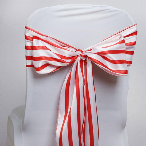 5pc x Ever Lovable Satin Stripes Chair Sash - White / Red