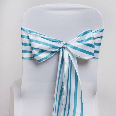 5pc x Ever Lovable Satin Stripes Chair Sash - White / Turquoise