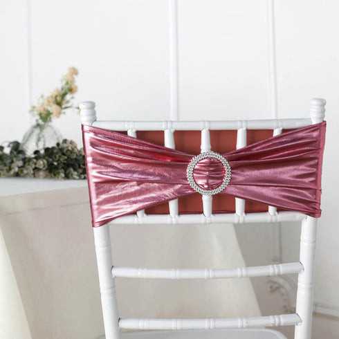 5 pack Metallic Blush | Rose Gold Spandex Chair Sashes With Attached Round Diamond Buckles