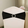 5 pack Metallic Black Spandex Chair Sashes With Attached Round Diamond Buckles