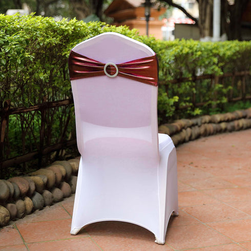 5 pack Metallic Burgundy Spandex Chair Sashes With Attached Round Diamond Buckles