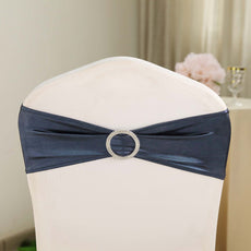 5 pack Navy Blue Spandex Chair Sashes With Attached Round Diamond Buckles