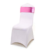 5 pack Metallic Pink Spandex Chair Sashes With Attached Round Diamond Buckles
