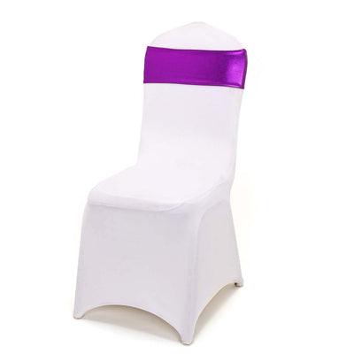 5 pack Metallic Purple Spandex Chair Sashes With Attached Round Diamond Buckles