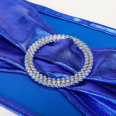 5 pack Metallic Royal Blue Spandex Chair Sashes With Attached Round Diamond Buckles