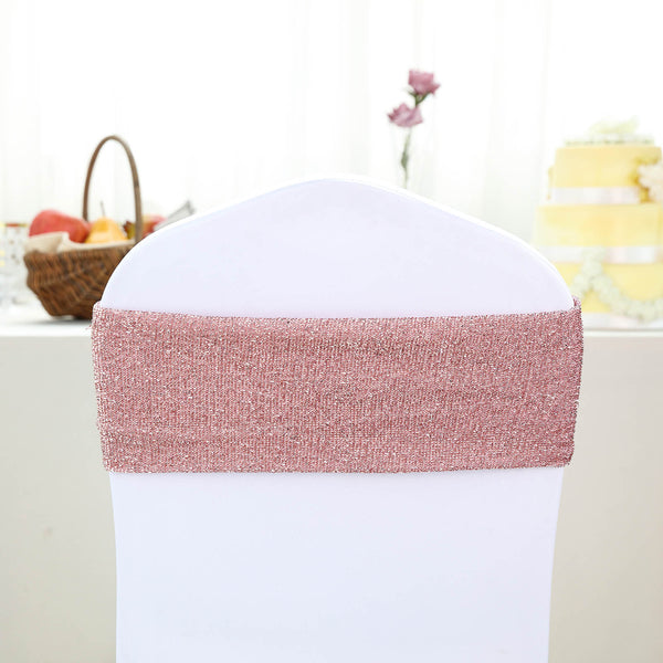 5 Pack | Blush | Rose Gold Metallic Shiny Glittered Spandex Chair Sashes