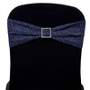 5 Pack | Navy Blue Metallic Shiny Glittered Spandex Chair Sashes