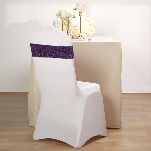 5 Pack | Purple Metallic Shiny Glittered Spandex Chair Sashes