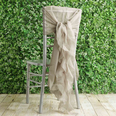 1 Set Natural Chiffon Hoods With Ruffles Willow Chiffon Chair Sashes