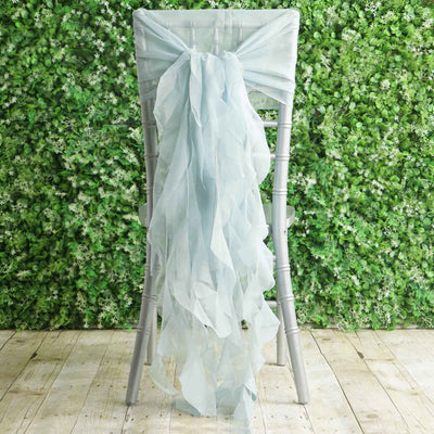 1 Set Ice Blue Chiffon Hoods With Ruffles Willow Chiffon Chair Sashes