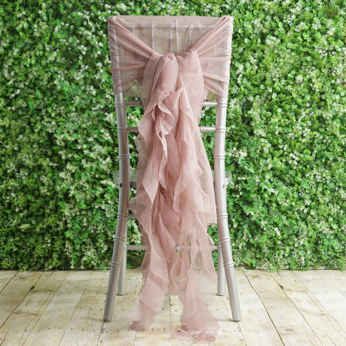 1 Set Dusty Rose Chiffon Hoods With Ruffles Willow Chiffon Chair Sashes