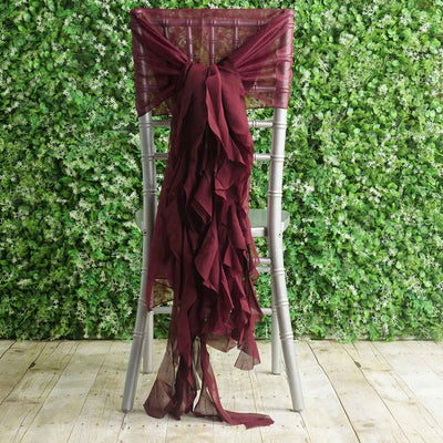 1 Set Burgundy Premium Designer Curly Willow Chiffon Chair Sashes