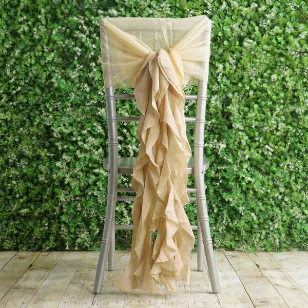 1 Set Champagne Chiffon Hoods With Ruffles Willow Chiffon Chair Sashes