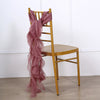 1 Set Mauve Chiffon Hoods With Ruffles Willow Chiffon Chair Sashes