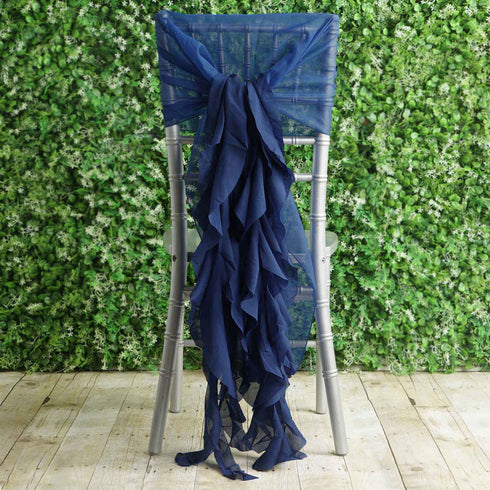 1 Set Navy Blue Chiffon Hoods With Ruffles Willow Chiffon Chair Sashes