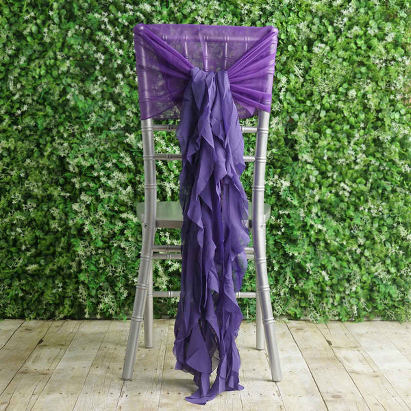 1 Set Purple Chiffon Hoods With Ruffles Willow Chiffon Chair Sashes