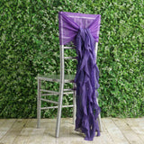 1 Set Purple Premium Designer Curly Willow Chiffon Chair Sashes