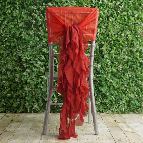 1 Set Red Chiffon Hoods With Ruffles Willow Chiffon Chair Sashes