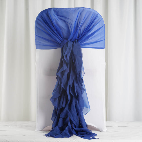 1 Set Royal Blue Chiffon Hoods With Ruffles Willow Chiffon Chair Sashes