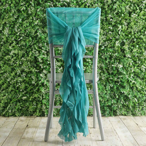 1 Set Turquoise Chiffon Hoods With Ruffles Willow Chiffon Chair Sashes