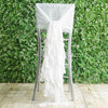 1 Set White Chiffon Hoods With Ruffles Willow Chiffon Chair Sashes