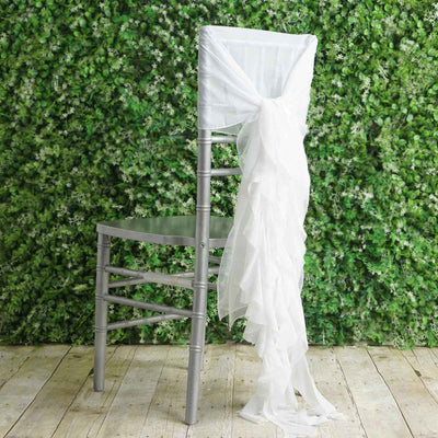 1 Set White Premium Designer Curly Willow Chiffon Chair Sashes