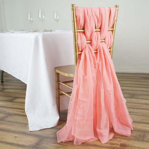 5 Pack | 6 Ft Rose Quartz DIY Premium Chiffon Designer Chair Sashes
