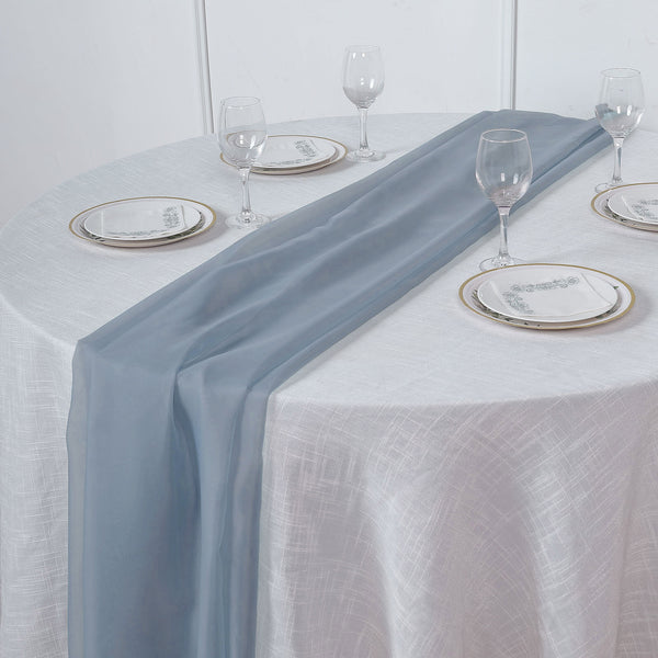 6FT | Dusty Blue Premium Chiffon Table Runner