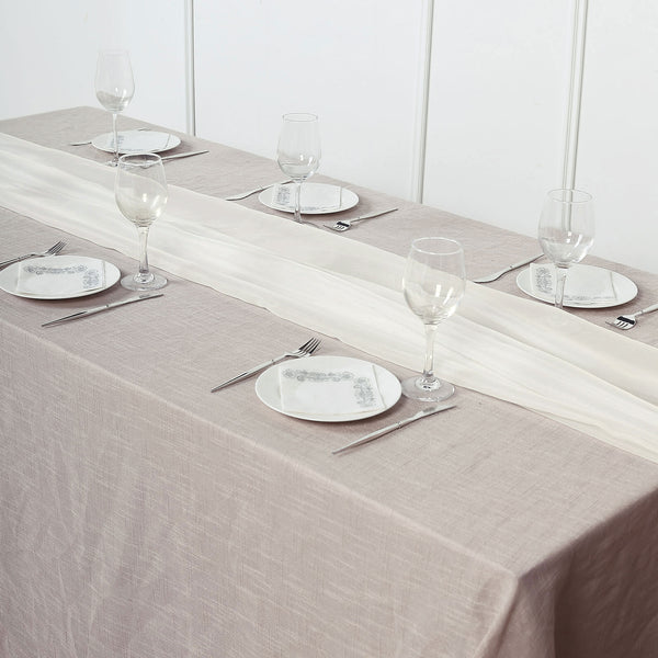 6FT | Ivory Premium Chiffon Table Runner