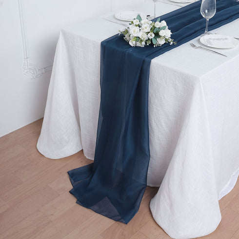6 FT | Navy Blue Premium Chiffon Table Runner