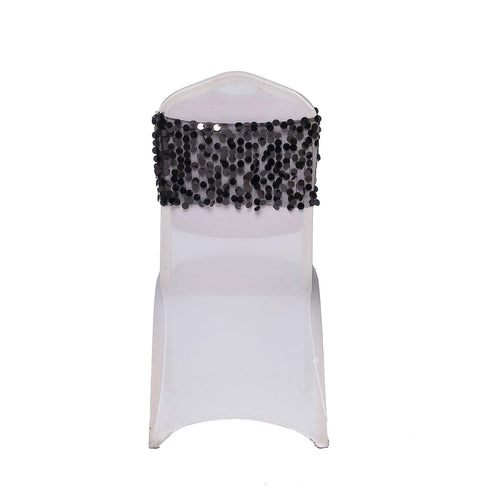 5 pack - Black - Big Payette Sequin Round Chair Sashes