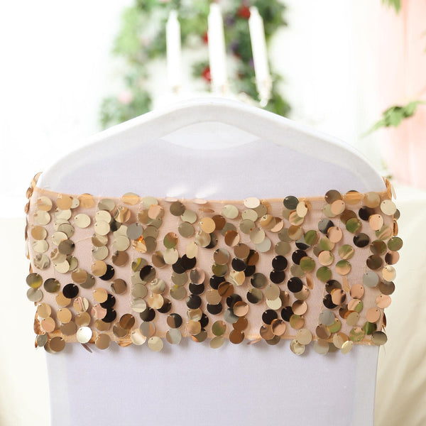 5 Pack - Gold Big Payette Sequin Round Chair Sashes