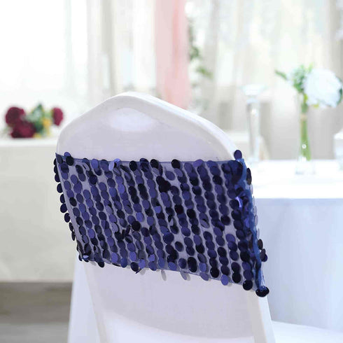 5 pack - Navy Blue - Big Payette Sequin Round Chair Sashes