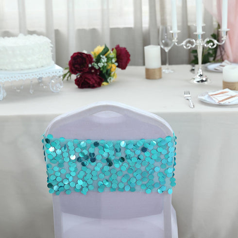 5 pack - Turquoise - Big Payette Sequin Round Chair Sashes